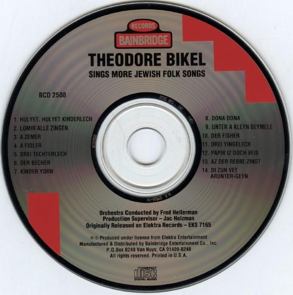 Теодор Бикель Theodore Bikel Sings More Jewish Folk Songs CD 1993