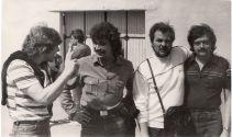 Слева-направо: (Синяя птица) Игорь Доценко,  Алексей Комаров,  Николай Парфенюк,  Сергей Саракуца звукорежиссер (1985,  г. Самара)